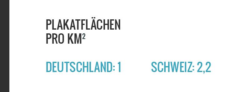 Die Schweiz hat massiv mehr Werbeflächen pro Flächeneinheit als Deutschland. Oder Italien, Frankreich, Grossbritannien, Österreich. www.schoens-zueri.ch